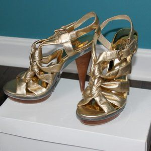 MICHAEL Michael Kors Gold Leather Sandals Shoes